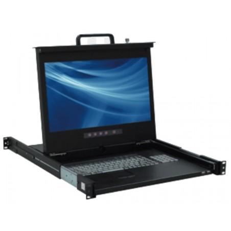 """Dansk 19"""" 1U LCD konsol med 17"""" TFT skärm, DK tangentbord och mus, svart"""