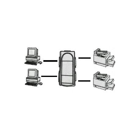 Restlager: Automatisk printeromskifter til 2 PC til 2 printere