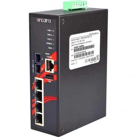 4 ports Industriel 10/100Mbit + 1 x 100Mbit SC Multi Mode managed PoE switch. DIN-beslag. -10 - +70°C, 48 - 55VDC