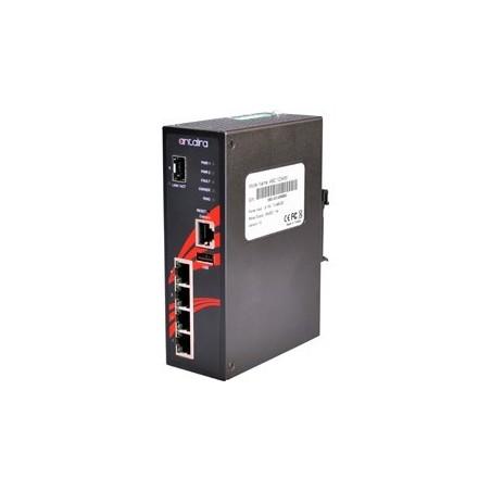 4 ports Industriel 10/100/1000Mbit switch + 1 x Gbit SFP slot, DIN-skinne, -10 - +70°C, 12 - 48VDC