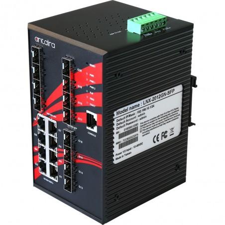 8 ports Industriel 10/100/1000Mbit + 12 ports 100/1000Mbit SFP slot, managed switch. DIN-beslag. -40 - +75°C, 12 - 48VDC