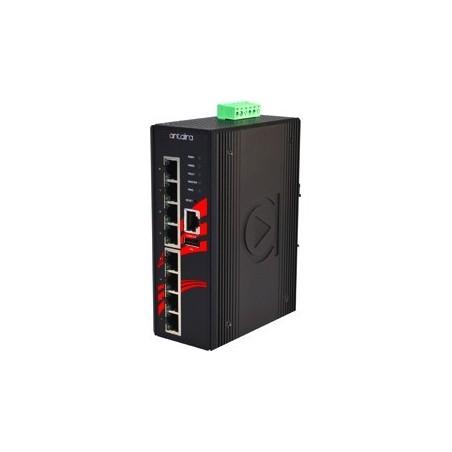 8 ports Industriel 10/100/1000Mbit PoE switch, DIN-beslag, -10 - +70°C, 48 - 55VDC