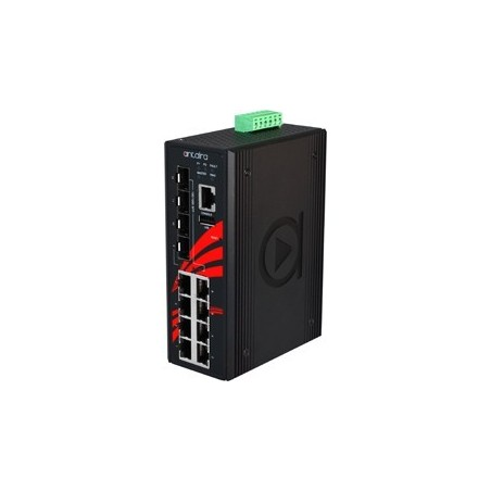 8 ports Industriel 10/100/1000Mbit PoE + 4 x 100/1000Mbit SFP switch, DIN-beslag, -10 - +70°C, 48 - 55VDC