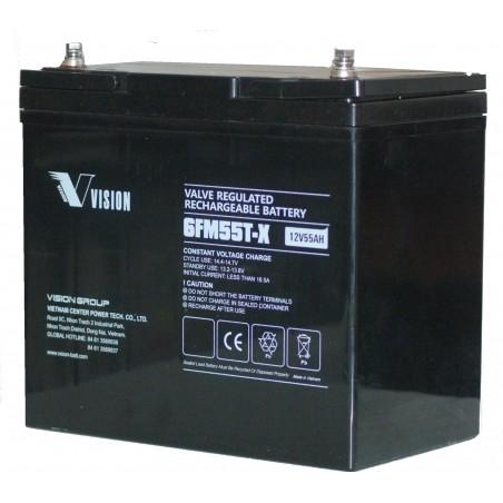 Ventilreguleret genopladeligt batteri 12V 55Ah med skruepoler, op til 10 timer