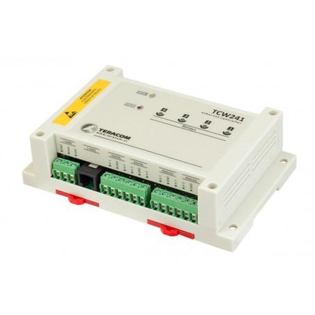 Dataopsamler via Internet/LAN, 4 x DI, 4 x analog input, 4 x relæ udgang, 1-wire til følere, MODBUS