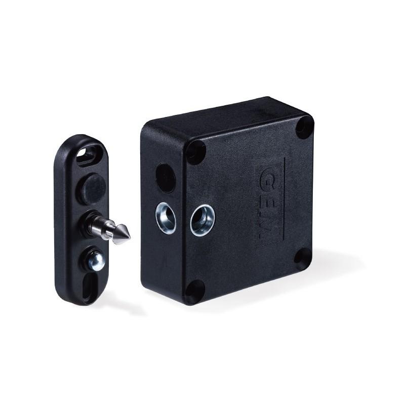 Elektronisk lås, til montering på skabe og låger, lukke-kontrol, holdekraft på 100kg, 12-28VDC