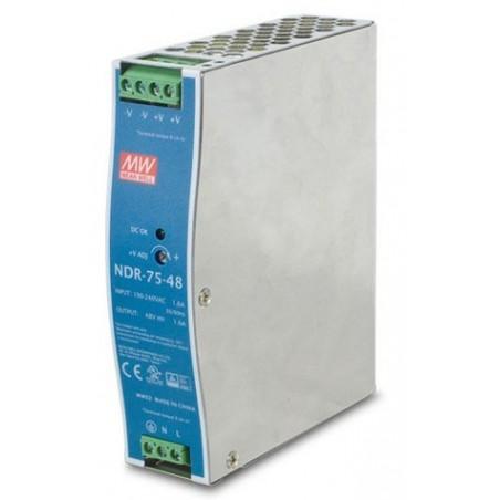 48V/1.6A strømforsyning, 100-240VAC, 75W, DIN-skinne, -20 - +70°C