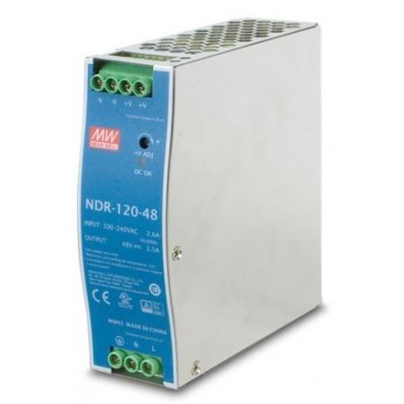48V/2.5A strømforsyning, 100-240VAC, 120W, DIN-skinne, -20 - +70°C