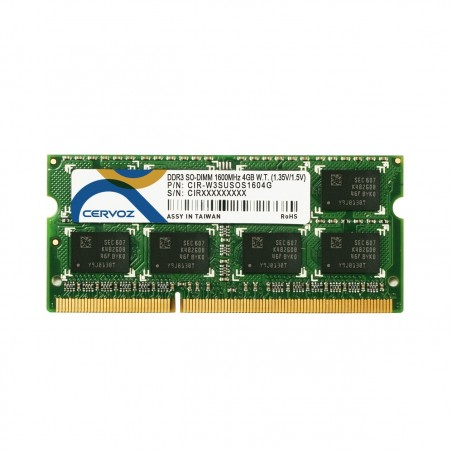 DDR3L SDRAM - SO-DIMM 204-pin - 1600MHz - Dual - understøtter både 1,35V og 1,5V - -40° til +85°, 4GB