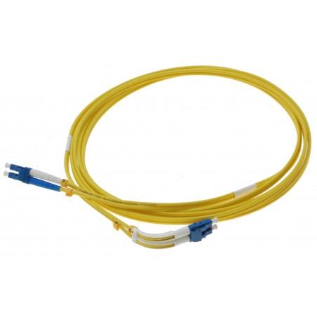 Singlemode LC fiber patchkabel med 4 x LC hanakontakt, vinklat 90°, duplex, 9/125 μm, 3 meter