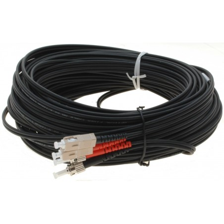 Fiber optisk kabel med fleksibel armering af rustfrit stål - multimode SC-ST, 100 meter