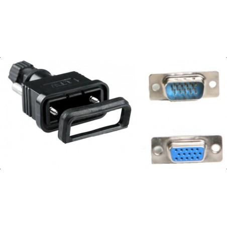IP67 vandtæt VGA, DB15HD, HD-Sub han stik. Til udendørs (industri) brug