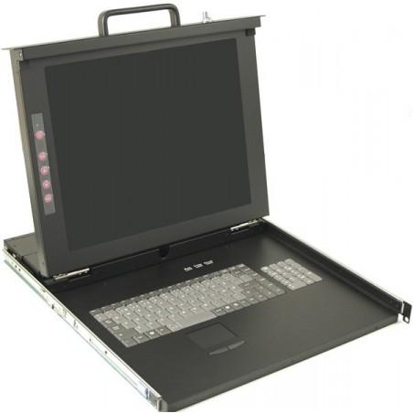"""19 """"1U konsol med 17"""" bildskärm, tangentbord och mus, 8 portars KVM veksel"""