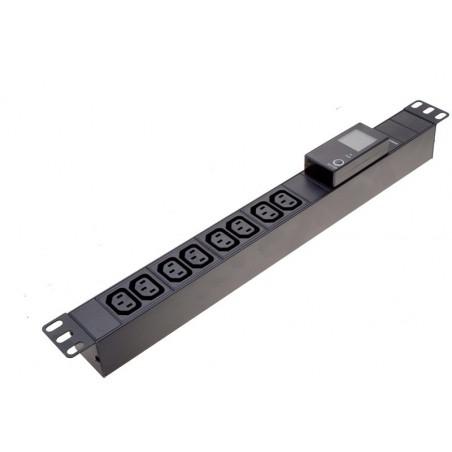 """Grenuttag, 19"""" IT skåp, 8 x C-13 (IEC) hona med ström-, spänning- och effektmätare"""