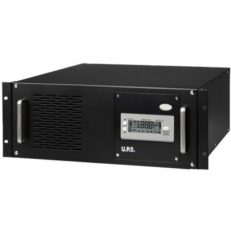 """5 kVA / 3.5kW UPS, nödströmförsörjning till 19"""" rack, inkl. 12 x 12V 7Ah batterier"""