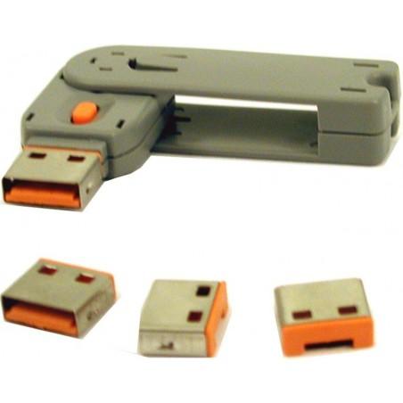 Mekanisk låse-sats till USB port. Blocker öppna USB portar från hacking