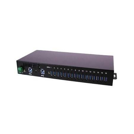 Industriellal 16-portars USB 3.0-hubb för DIN-skena