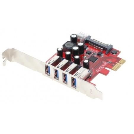 PCIe-kort med 4 USB 3.0-portar för anslutillning av 4 externa USB 3.0-enheter