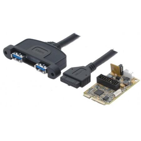 Mini PCIe-kort med 2 USB 3.0-portar för anslutillning av 2 externa USB 3.0-enheter