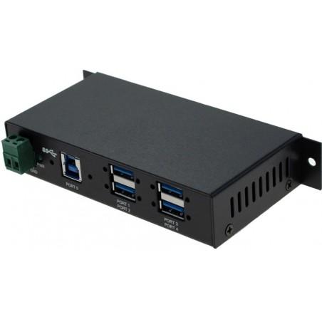 Industriellell 4-portars USB 3.0-hubb för DIN-skena