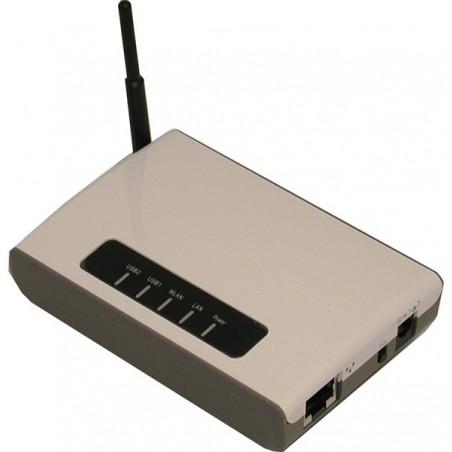 2 USB 2.0-portar via detill tillrådlösa nätverk. Kan även användas för fil, skanner eller skrivarserver