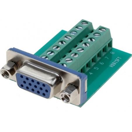 Plintill med DB15HD VGA-kontillaktill . adapt med 16 skruvplintillar