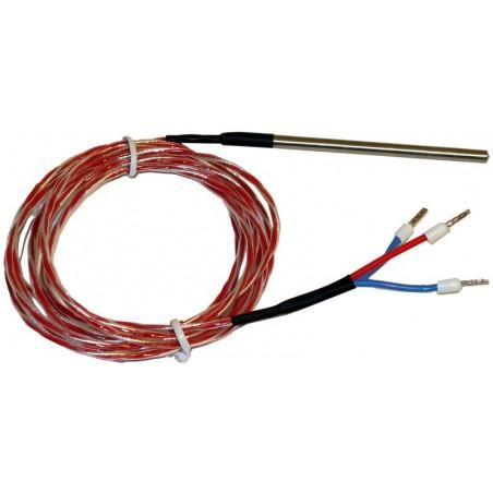 3 tråds PT 100 føler i metal hus 4 x 80mm, - 20 ° – +130 °C, 2 meter kabel