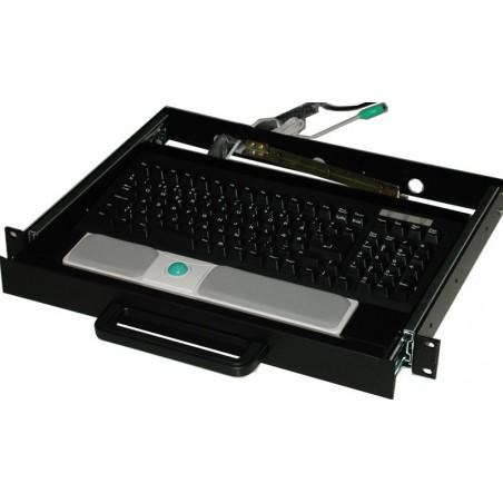 """19"""" 1U dra-ut-låda med trackball, ex. tangentbord"""