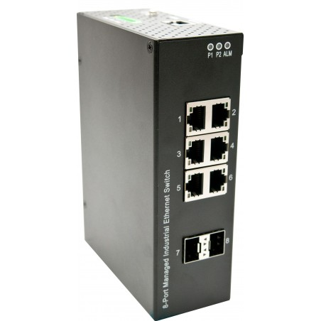8 ports switch 6 X Gbit RJ45 + 2 Gbit SFP - Unmanaged, 12-56VDC