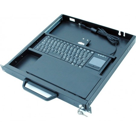 """19"""" 1U dra-ut-låda för tangentbord med touchpad"""