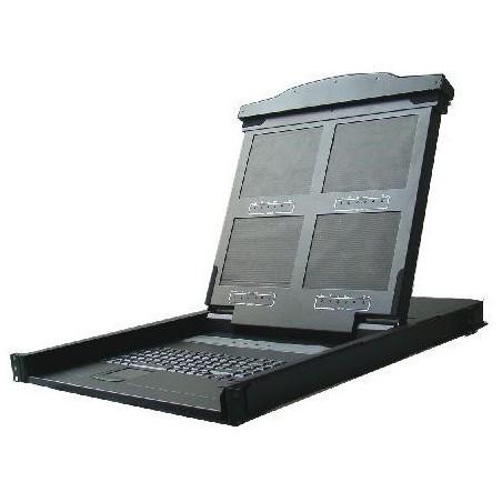 """19"""" 1U udtræk-konsol med 14"""" quad monitor, tastatur, touch-pad"""