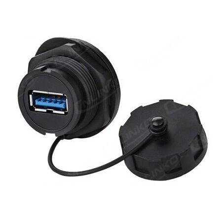 Vattentät USB3.0 A-hona och A-hona kontakt till chassi, IP68 tät med lock monterad.
