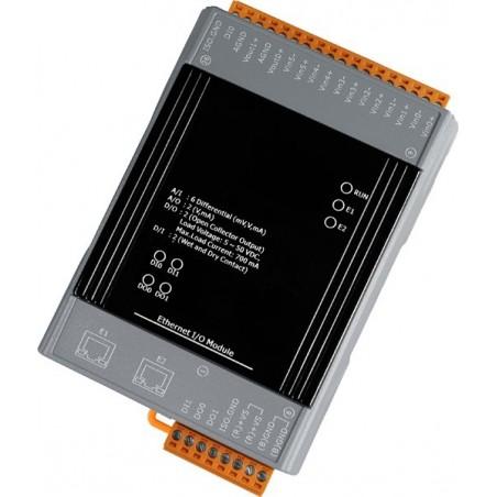 Analoch 6 ind - och 2 udgange samtill digitale 2 ind- och 2 udgange med 2 ports switch