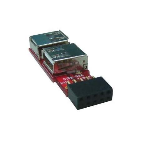 USB knappnålshuvud till 2 x USB-A-kontillaktill