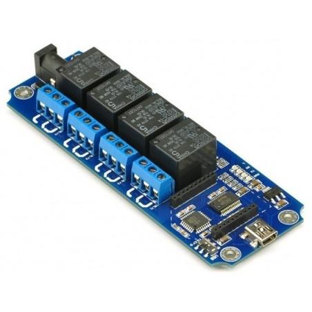 Skriv utill med 4 230-volts reläer för stillyrning via USB eller DIOT-BT, DIOT-WIFI moduler