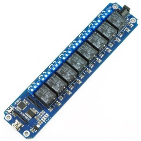 Skriv utill med 8 230 volt reläer för stillyrning via USB eller DIOT-BT, DIOT-WIFI moduler