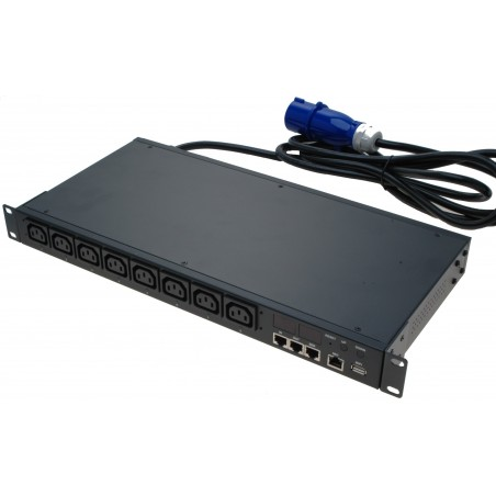 in- och utkoppling av 8 nätuttag via nätverket. Med effektmätare i kWh, IT skåp monterad, 1U