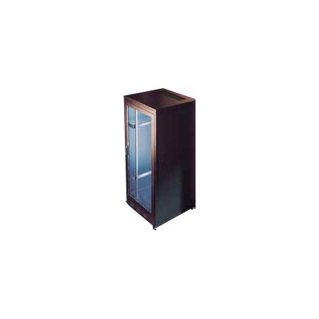 """24U 19"""" IT skåp 60cm djup, svart. Med glas-dörr"""