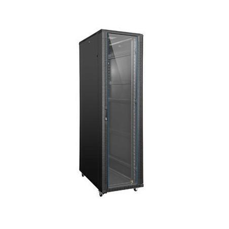 """32U 19"""" IT skåp, 80cm djup, svart. Glas-dörr"""
