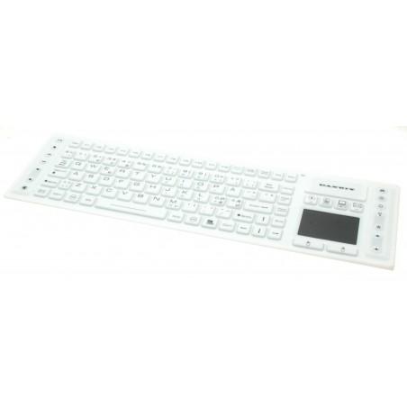 Vit trådlös, hygienisk IP68 tät tangentbord med touchpad