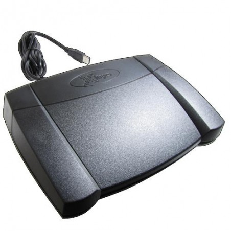 Programmerbar fotpedal med 3 kontakter - USB-HID kommando. Oberoende av OS.