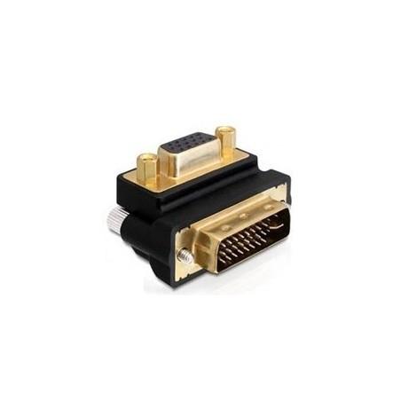 adapt DVI-I hane till DB15HD hane, 90 ° højrevinkletill.