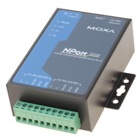 MOXA NP5232I 2 X RS422 / 485 optillo isoleretill seriell portserver