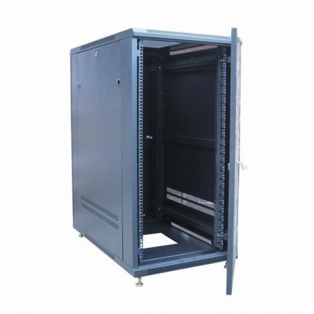 """24U 19"""" IT skåp, 80cm djup, svart. Glas-dörr"""