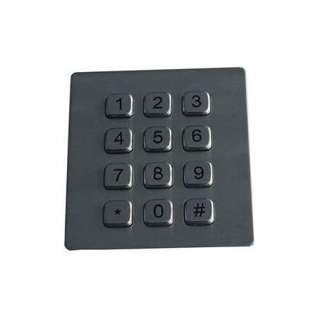 Tangentbord/kontroll panel. Industriell keypad m. 12 tangenter i stål, IP65 och vandalsäker