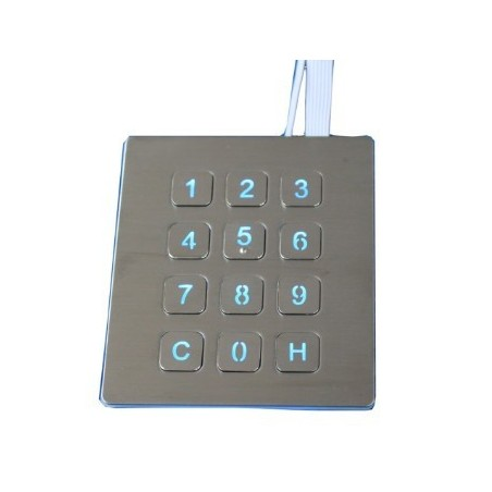 Tangentbord/kontroll panel. Industriell keypad m. 12 knapper i rustfrit stål IP65 tætog vandalsikret