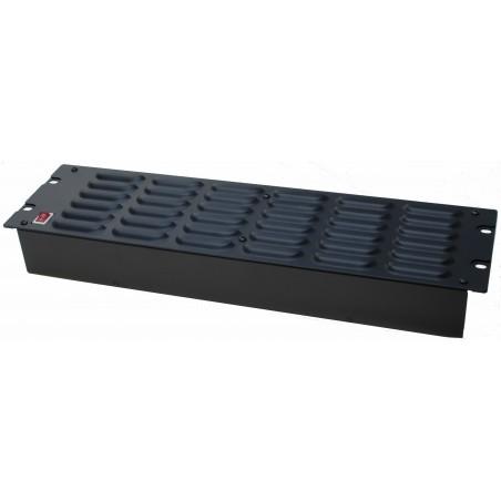 """3U 19"""" fläkt modul till 19"""" rack. Aktiv med 3 x fläkt. Air flow inwards, 230VAC"""