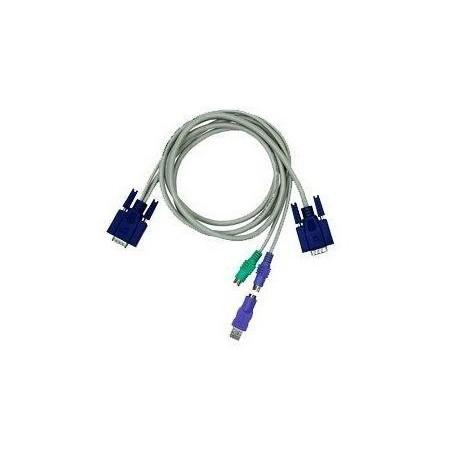 Restparti:lager: Blæksprutilltille/ KVM kabel med DB15HDM -2xDIN6MM + 1xDB15HDM og USB adapter, KC-1505C, 5 meter