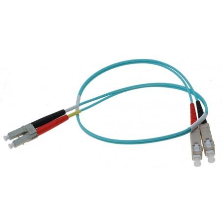 Fiberkabel med 2 x LC og 2 x SC kontakt, multimode, OM3, DX, 50µm, 0,5 meter