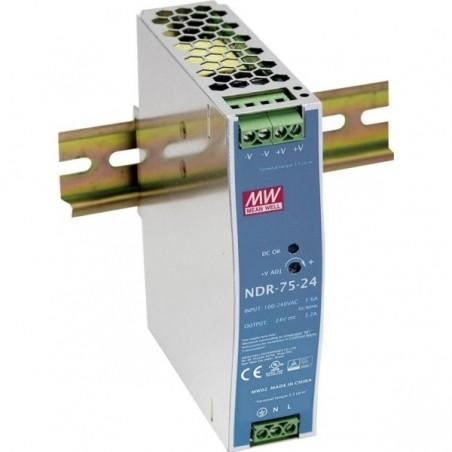 24VDC/3.2A, strömförsjörning, 76.8 Watt, DIN-skena